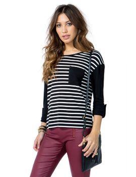 pocket-block-stripe-long-sleeve-top by agaci