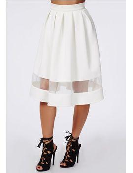 minsie-scuba-organza-panel-full-skater-skirt-white by missguided