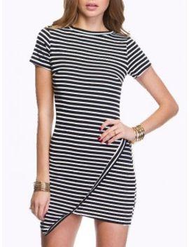 monochrome-stripe-asymmetric-hem-bodycon-dress by choies