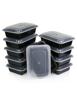 chefland-one-compartment-microwavable-plastic-food-container-with-lid-bento-box,-meal-prep-food-containers,-food-storage-and-portion-control,-takeaway-boxes-black,-10-pack by chefland