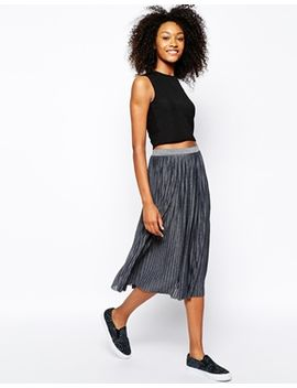 monki-metallic-pleat-midi-skirt by monki