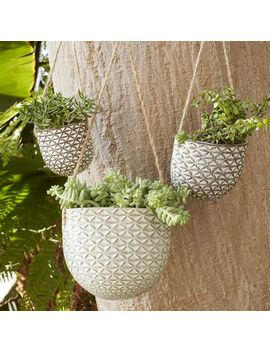 hanging-textured-ceramic-planters by west-elm