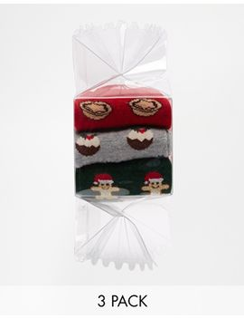 asos-holidays-socks-cracker-box-3-pack-pudding-mince-pie-gingerbread-man by asos-collection