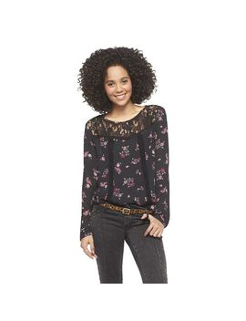 target-:-expect-more-pay-less by -long-sleeve-lace-yoke-top-black-print---xhilaration®