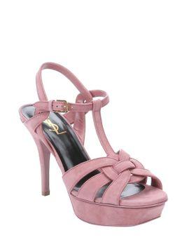vieux-rose-suede-tribute-t-strap-sandals by laurent