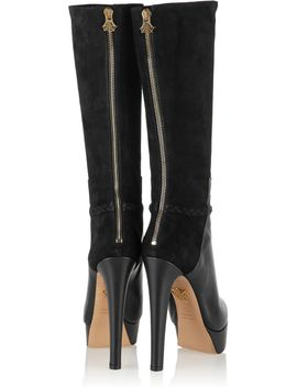 the-outnettheodora-suede-and-leather-knee-boots by charlotte-olympia