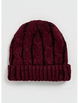 black-and-burgundy-cable-beanie by topman