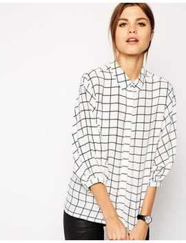 asos-blouse-in-grid-print by asos-collection