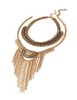 layered-fringe-chain-necklace-set by forever-21