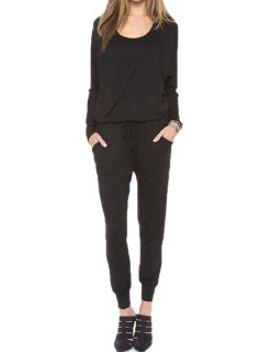 choies-design-black-drawstring-waist-long-sleeve-jumpsuit by choies