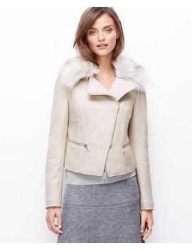 faux-fur-collar-jacket by ann-taylor