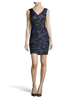 sleeveless-print-ruched-crepe-dress,-cobalt by halston