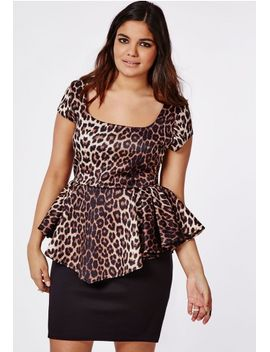 plus-size-leopard-print-peplum-dress by missguided