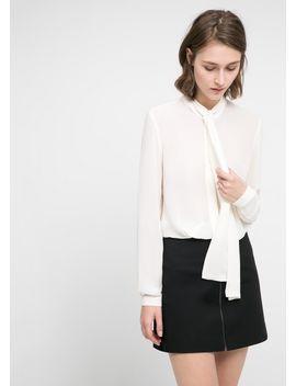 tie-neck-chiffon-blouse by mango