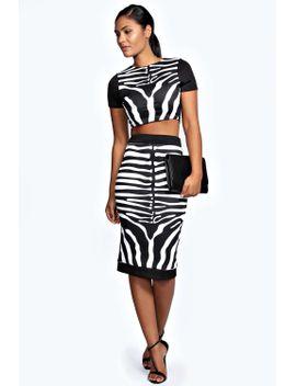 sasha-zebra-print-crop-and-midi-skirt-co-ord by boohoo