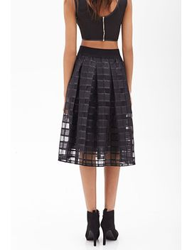 windowpane-patterned-circle-skirt by forever-21
