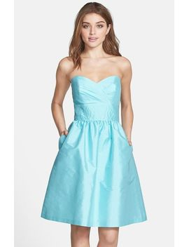 strapless-satin-fit-&-flare-dress by alfred-sung