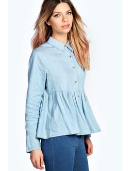 frankie-button-through-denim-peplum-shirt by boohoo