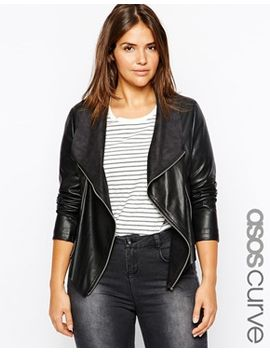 asos-curve-leather-look-jacket-with-waterfall-front by asos-curve