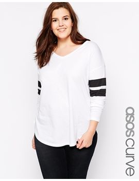 asos-curve-top-with-stripe-sleeve by asos-curve