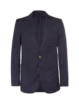 navy-slim-fit-wool-suit-jacket by ami