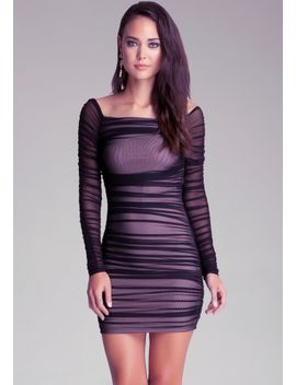 off-shoulder-shirred-mesh-dress by bebe