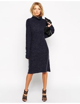 asos-swing-dress-in-rib-knit-with-turtleneck by asos-collection