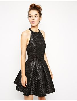 asos-quilted-metallic-skater-dress by asos-collection