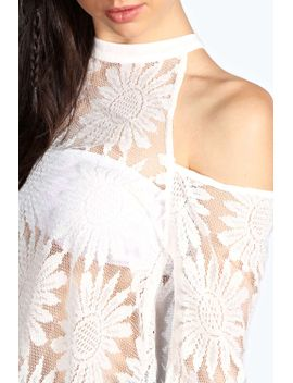 shanice-lace-high-neck-cut-out-shoulder-blouse by boohoo