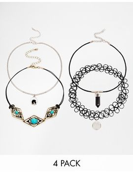 asos-pack-of-3-tattoo-disc-choker-necklaces by asos-collection
