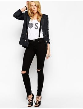 asos-lisbon-skinny-mid-rise-jeans-in-black-with-displaced-knees by asos-collection