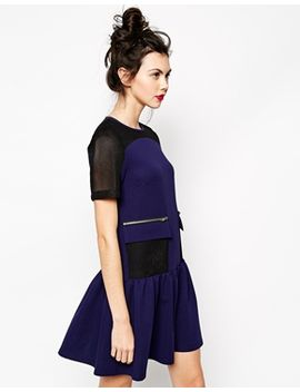 asos-shift-dress-with-mesh-panel-and-zip-detail by asos-collection