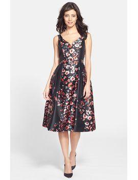 floral-taffeta-fit-&-flare-midi-dress by donna-morgan