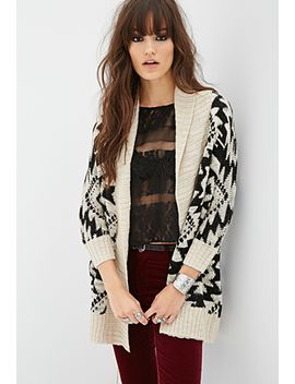 tribal-pattern-longline-cardigan by forever-21
