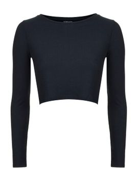 long-sleeve-skinny-ribbed-crop-top by topshop