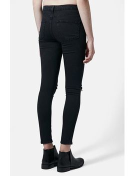 moto-jamie-dark-wash-ripped-slim-jeans by topshop