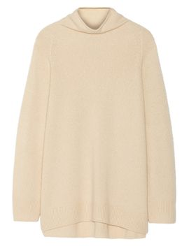 mandel-oversized-cashmere-and-silk-blend-turtleneck-sweater by the-row