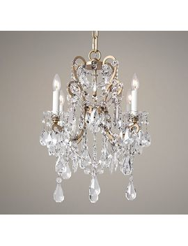 Manor Court Crystal 4 Arm Chandelier   Aged Gold by Rh Baby&Child