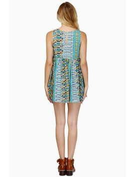 hestia-teal-multi-printed-skater-dress by tobi