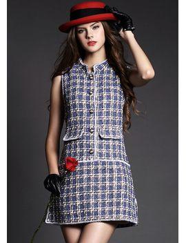 blue-sleeveless-plaid-slim-woolen-dress by sheinside