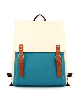 contrast-color-buckled-canvas-backpack by brand-from-china