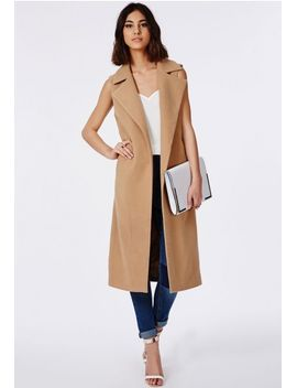 sleeveless-tailored-coat-camel by missguided