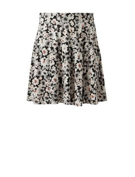 black-floral-print-skater-skirt by new-look