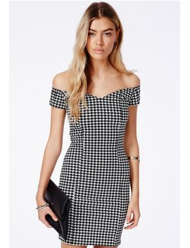kasia-bardot-mini-dress-in-dogtooth by missguided