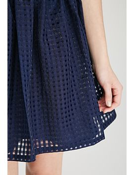 windowpane-chiffon-fit-&-flare-dress by forever-21