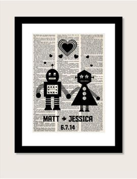 personalized-robot-couple--with-name-and-date-wedding,-shower,-anniversary,-couples-gift,-valentines-day-gift-dictionary-print-typography by bluepoppygallery