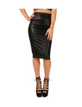 black-high-waist-faux-leather-skirt by windsor