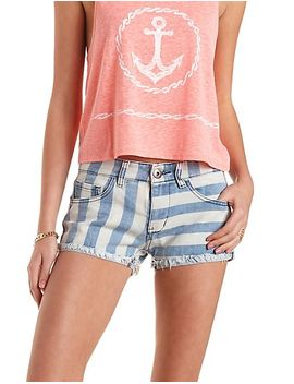 low-rise-striped-denim-shorts by charlotte-russe