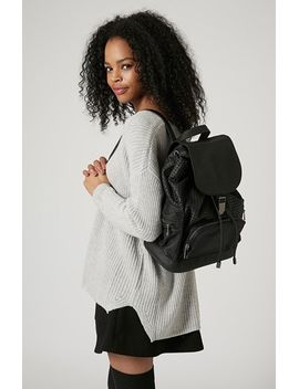 perforated-faux-leather-backpack by topshop
