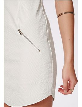 christiana-croc-faux-leather-shift-dress-white by missguided